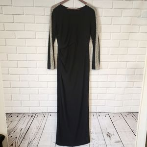 Xscape Embellished  Long Sleeve Jersey Gown